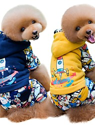 cheap -Dogs Cats Coat Winter Dog Clothes Yellow Blue Costume Pug Bichon Frise Schnauzer Cotton Solid Colored Casual / Daily Warm Ups S M L XL
