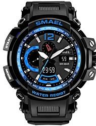 Недорогие -SMAEL Муж. Спортивные часы электронные часы Японский Японский кварц Черный 50 m Защита от влаги Календарь Секундомер Аналого-цифровые На каждый день Мода - Черный Черный / Синий / Хронометр