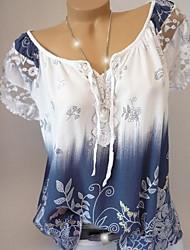 cheap -Women's Daily Plus Size Shirt - Tie Dye Boat Neck Wine / Summer