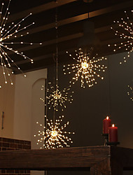 cheap -ZDM Waterproof 60 Branches120LED Battery Operated Hanging Starburst Lights LED Fireworks lamp LED Broom Copper Wire Timed Colorful Lantern Creative Party Festival Decor