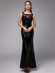 cheap -Mermaid / Trumpet Elegant & Luxurious Sparkle & Shine Formal Evening Black Tie Gala Dress Square Neck Sleeveless Floor Length Tulle Sequined with Beading Sequin 2020