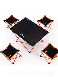 cheap -BEAR SYMBOL Camping Folding Table with Stools Portable Rain Waterproof Anti-Slip Ultra Light (UL) Oxford Cloth 7075 Aluminium 4 Stools 1 Table for Fishing Camping Autumn / Fall Spring Blue Orange