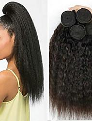 cheap -4 Bundles Vietnamese Hair Yaki Straight Human Hair Unprocessed Human Hair Natural Color Hair Weaves / Hair Bulk Hair Care Extension 8-28 inch Natural Color Human Hair Weaves New Arrival Hot Sale Thick