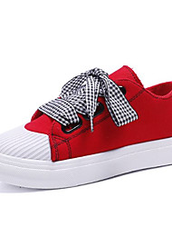 cheap -Women's Sneakers Comfort Shoes Low Heel PU Casual Fall Black / White / Red