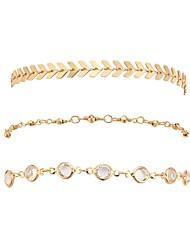 cheap -3pcs Women's Chain Bracelet Stylish Creative Ladies Tropical British Stone Bracelet Jewelry Gold For Office & Career Festival