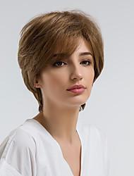 cheap -Human Hair Capless Wigs Human Hair Natural Wave Pixie Cut / Short Hairstyles 2019 Natural Hairline Brown Capless Wig Women's Daily Wear