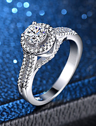 cheap -Women's Ring Micro Pave Ring 1pc Silver Copper Platinum Plated Imitation Diamond Four Prongs Ladies Classic Romantic Wedding Masquerade Jewelry Classic Halo Simulated Love Lovely