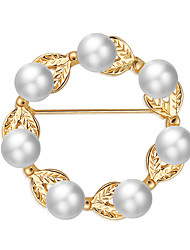 cheap -Women's Pearl Brooches Hollow Leaf Flower Ladies Luxury Sweet Elegant Imitation Pearl Brooch Jewelry Gold For Party Engagement Gift Formal