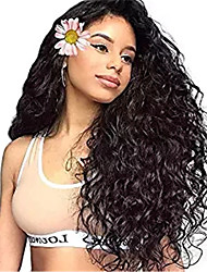 cheap -Remy Human Hair Lace Front Wig Asymmetrical Rihanna style Brazilian Hair Afro Curly Black Wig 130% 150% 180% Density with Baby Hair Women Easy dressing Sexy Lady Natural Women's Very Long Human Hair