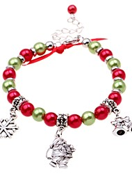 cheap -Women's Bead Bracelet Pendant Bracelet Beads Santa Suits Snowflake Ladies Classic Fashion Imitation Pearl Bracelet Jewelry Red For Christmas Street
