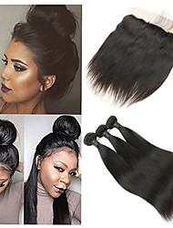cheap -3 Bundles with Closure Brazilian Hair Straight Remy Human Hair Human Hair Extensions Hair Weft with Closure 8-26 inch Human Hair Weaves Soft Best Quality New Arrival Human Hair Extensions / 10A