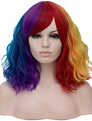 cheap -Curly Minaj Middle Part Wig Short Rainbow Synthetic Hair 16 inch Women's Case Fashionable Design Red Blue