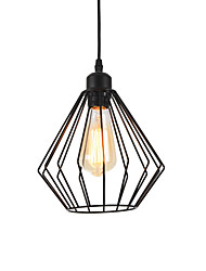 cheap -1-Light Vintage Black Metal Cage Loft Pendant Lights Living Room Dining Room Hallway Cafe Bars  Light Fixture Painted Finish