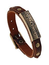 cheap -Men's Vintage Bracelet Leather Bracelet Vintage Style Sculpture Heart Stylish Vintage Punk Leather Bracelet Jewelry Brown For Gift Street
