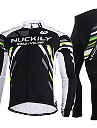 cheap -Nuckily Men's Women's Long Sleeve Cycling Jersey with Tights Black Plus Size Bike Jersey Clothing Suit Windproof Breathable Quick Dry Anatomic Design Reflective Strips Winter Sports Polyester Holiday