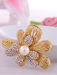 cheap -Women's Brooches Hollow Out Flower Ladies Stylish Classic Imitation Pearl Rhinestone Brooch Jewelry Gold For Daily