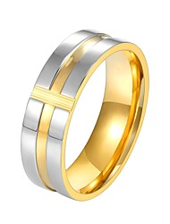 cheap -Men's Ring Groove Rings 1pc Gold Blue Stainless Steel Fashion Gift Daily Jewelry Classic Two tone Cross