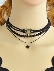 cheap -Women's Synthetic Tourmaline Choker Necklace Stylish Lucky Ladies Simple Fashion PU Leather Lace Alloy Black 35 cm Necklace Jewelry 5pcs For Party / Evening School