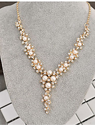 cheap -Women's Y Necklace Classic Creative Ladies Stylish Classic Imitation Pearl Rhinestone Alloy Gold 40+8 cm Necklace Jewelry 1pc For Wedding Ceremony