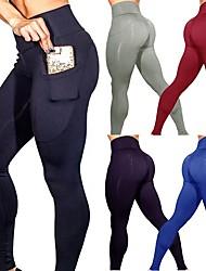 Недорогие -Жен. С высокой талией Карман Штаны для йоги Сплошной цвет Спандекс Zumba Бег Танцы Велоспорт Колготки Леггинсы Спортивная одежда Подтяжка Утягивание живота Для тренировки Power Flex 4 / Эластичная