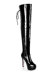 cheap -Women's Boots Over-The-Knee Boots Stiletto Heel Pointed Toe Satin Flower PU Thigh-high Boots Fall Black / Red / Fashion Boots