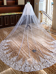 cheap -Two-tier Lace Applique Edge / Floral Wedding Veil Cathedral Veils with Appliques Lace / Tulle / Mantilla