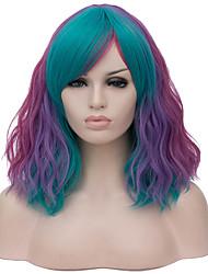 Недорогие -Кудрявый Средняя часть Парик Короткие Радужный Искусственные волосы 16 дюймовый Жен. Кейс Модный дизайн Синий Фиолетовый