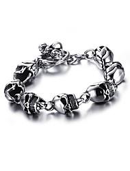 cheap -Men's Vintage Bracelet Link / Chain Skull Punk European Titanium Steel Bracelet Jewelry Silver For Street / Platinum Plated