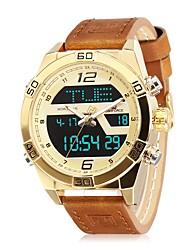 cheap -NAVIFORCE Men's Sport Watch Wrist Watch Japanese Japanese Quartz Genuine Leather Blue / Brown 30 m Water Resistant / Waterproof Calendar / date / day Dual Time Zones Analog Casual Fashion - Blue