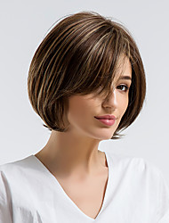 cheap -Human Hair Capless Wigs Human Hair Straight Side Part / Short Hairstyles 2019 Natural Hairline Multi-color Capless Wig Women's Daily Wear