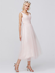 cheap -A-Line V Neck Tea Length Tulle Bridesmaid Dress with Pleats