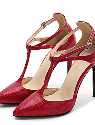 cheap -Women's Heels Strappy Stacked Heels Stiletto Heel Pointed Toe Buckle PU(Polyurethane) Sweet Summer Black / Red / Almond / Party & Evening / Daily / Party & Evening