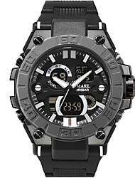 Недорогие -SMAEL Муж. Спортивные часы электронные часы Японский Японский кварц Стеганная ПУ кожа Черный 50 m Защита от влаги Календарь Секундомер Аналого-цифровые На каждый день Мода - Черный Черный и золотой