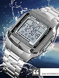 Недорогие -SKMEI Муж. Нарядные часы Наручные часы электронные часы Японский Цифровой Нержавеющая сталь Серебристый металл / Золотистый / Розовое золото 30 m Защита от влаги Календарь Хронометр Цифровой
