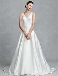 cheap -Ball Gown V Neck Court Train Satin Regular Straps Cutouts Made-To-Measure Wedding Dresses with Sashes / Ribbons 2020