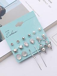cheap -Women's Earrings Set Classic Star Ladies Simple European Fashion Imitation Pearl Rhinestone Earrings Jewelry White For Party Causal 1 set