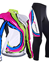 cheap -Nuckily Women's Long Sleeve Cycling Jersey with Tights Camouflage Rainbow Bike Jersey Clothing Suit Windproof Breathable Anatomic Design Reflective Strips Back Pocket Sports Polyester Lycra Rainbow