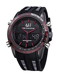 Недорогие -ASJ Муж. Спортивные часы электронные часы Японский Кварцевый силиконовый Черный 30 m Защита от влаги Календарь Секундомер Аналого-цифровые На каждый день Мода - Красный Синий / Фосфоресцирующий