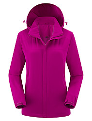 cheap -Women's Hoodie Jacket Hiking Jacket Winter Outdoor Windproof Breathable Rain Waterproof Quick Dry Jacket Top Elastane Single Slider Camping / Hiking Climbing Outdoor Exercise Purple / Fuchsia
