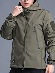 cheap -Men's Hiking Softshell Jacket Hiking Jacket Military Tactical Jacket Winter Outdoor Camo Windproof Breathable Rain Waterproof Thick Winter Jacket Fleece Spandex Softshell Single Slider Hunting
