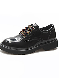 cheap -Women's Oxfords Comfort Shoes Low Heel Round Toe PU Casual Fall Black / Daily