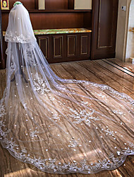 cheap -Two-tier Flower Style / Lace Applique Edge Wedding Veil Cathedral Veils with Appliques Lace / Tulle / Mantilla