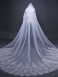 cheap -One-tier Vintage Style / Flower Style Wedding Veil Chapel Veils with Appliques / Solid / Paillette 118.11 in (300cm) Lace / Tulle / Classic