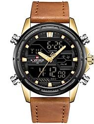Недорогие -NAVIFORCE Муж. Спортивные часы электронные часы Японский Японский кварц Натуральная кожа Черный / Коричневый 30 m Защита от влаги Календарь Фосфоресцирующий Аналого-цифровые На каждый день Мода -