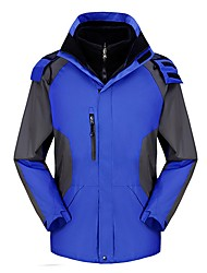cheap -Men's Hiking 3-in-1 Jackets Winter Outdoor Patchwork Windproof Wear Resistance Jacket Winter Jacket Top Waterproof Single Slider Camping / Hiking Ski / Snowboard Traveling Sky Blue / Army Green