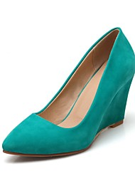 cheap -Women's Heels Pumps Wedge Heel Suede Fall Fuchsia / Green / Almond / Daily