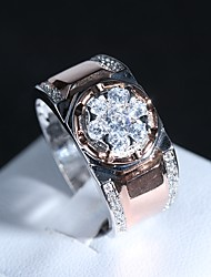 cheap -Couple's Ring 1pc Rose Gold Copper Platinum Plated Rose Gold Plated Geometric Ladies Classic Gothic Wedding Gift Jewelry Classic Creative Cool / Imitation Diamond