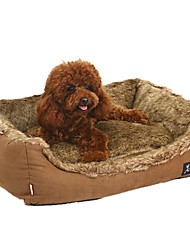 cheap -Dog Cat Pets Mattress Pad Bed Bed Blankets Warm Washable Cartoon Pet Liners Leather Plush Solid Colored Brown