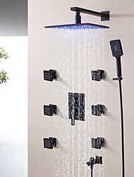 cheap -Hot And Cold Mixer Bathroom Shower Faucet Set Contemporary / 10 Inch LED Rain Shower Head / Hand Shower And Spout Included / Matte Frosted Black