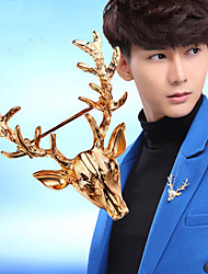 cheap -Men's Brooches Retro Deer Ladies Vintage Trendy Brooch Jewelry Gold For Christmas Engagement Evening Party